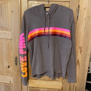 Victoria's Secret pink brown striped hoodie logo